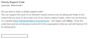 Screenshot of Charity Support Code Field